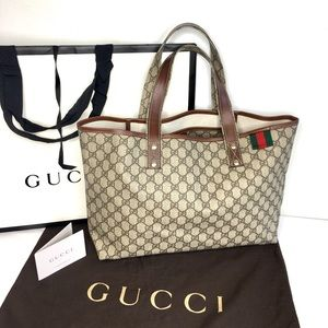 Authentic Gucci tote brown coated monogram canvas